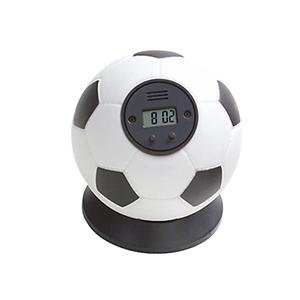crazy-ideas - Relógio de mesa digital formato de bola de futebol, com alarme, gomos brancos, preto em plástico base preta removível