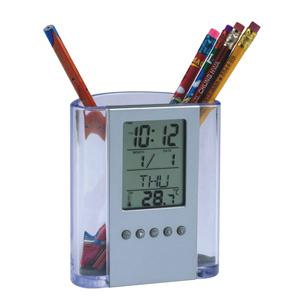 Crazy Ideas - Relógio de mesa digital com porta lápis, marca dia, hora e temperatura