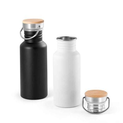 Squeeze. Aço inox. Tampa em bambu. Capacidade: 540 ml. Food grade. Fornecido em caixa. Ø68 x 192 mm.