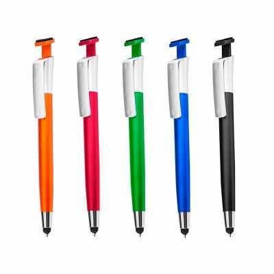 crazy-ideas - Caneta plástica com ponta touch, suporte para celular e limpa tela.