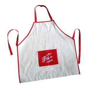 Avental Personalizado em lona 100% algodão, tamanho 70 (comprimento) x 78 (altura) cm, com bolso na parte frontal com 27 x 21 cm.