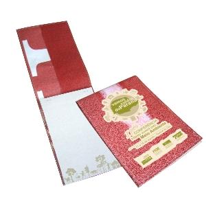 ecofabrica - Bloco personalizado com capa de retalhos de banner coloridos e todos diferentes - Medidas: 15 x 21,5 cm.