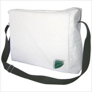 Ecofábrica - Bolsa carteiro ecológica horizontal personalizada em lona de algodão cru (artigo 390 gr / m²) - Compartimento principal acesso por zíper.
