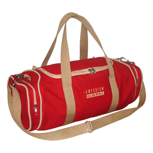 Bolsa ecológica personalizada, em lona de algodão reciclada ou lona nova colorida vermelha (artigo 490 gr / m²).