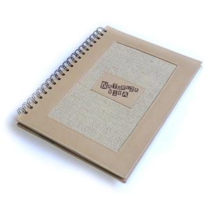 Ecofábrica - Caderno personalizado com capa em couro reciclado natural. Medidas: 21 x 28 cm. Com 100 folhas em papel reciclado, impressão 1 x 1  cor.