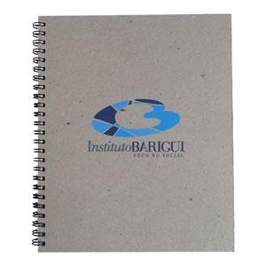 ecofabrica - Caderno Ecológico Personalizado com miolo e capa rígida em papel reciclado - Com 96 folhas impressas em 1 x 1 cor e primeira página com informações pe...