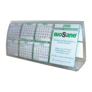 Ecofábrica - Calendário ecológico de mesa personalizado em plástico PET 100% reciclado - Originado através da reciclagem de embalagens de refrigerante.