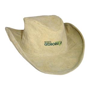 Chapéu personalizado em lona (reaproveitada de cargas de caminhão) modelo country - Com regulador e acabamento interno com carneira de algodão. - Ecofábrica