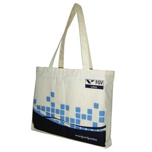 Ecofábrica - Ecobag ou bolsa personalizada em lona de algodão cru (artigo 150 g / m²) - Medidas: 42 (comprimento) x 34 (altura) x 5 (profundidade) cm.