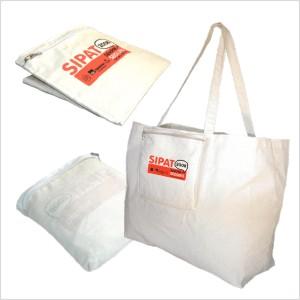 Ecobag ou bolsa para brinde em lona de algodão cru (artigo 150 g / m²), dobrável, com duas alças fixas, um bolso frontal com zíper reversível. - Ecofábrica
