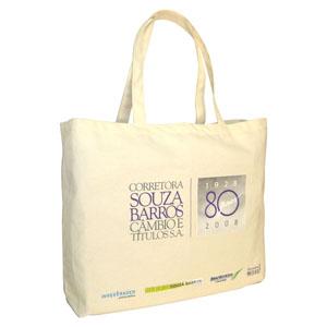 Ecobag ou sacola para brinde em lona de algodão cru (artigo 230 g / m2) - Com duas alças fixas. Medidas: 50 (comprimento) x 40 (altura) x 10 (profundidade) cm.