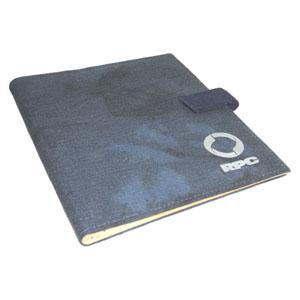 ecofabrica - Pasta Executiva de Mesa Personalizada, em lona de algodão reciclada ou lona nova colorida azul estone - Acabamento interno em couro reciclado natural.