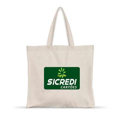 Sacola em algodão cru com alça do mesmo material, personalização por serigrafia, Produto resistente e ecológico, com diversas medidas. - Artebelli Promocional