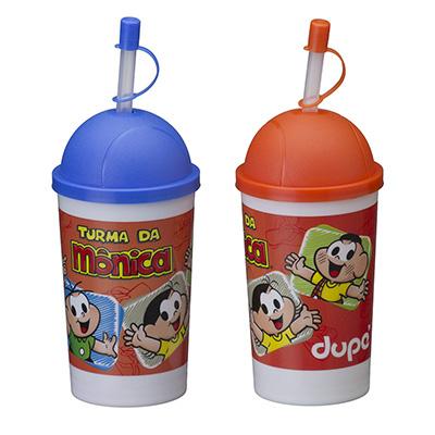 Artebelli Promocional - Copo Plástico 300 ml para criança com Tampa Bola e canudo.
