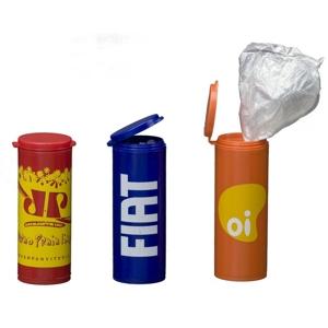Artebelli Promocional - Saco de lixo em pote confeccionado em alta qualidade com tampa e gravação personalizada. Sua marca oferecendo a seus clientes um produto que respeita...