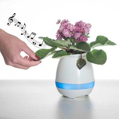 Malgueiro Brindes - Caixa de som vaso com sensor e bluetooth