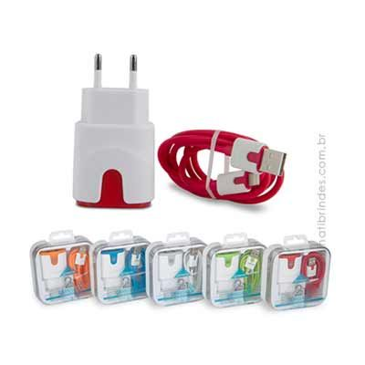 luminati-brindes - Kit Carregador Cable 2 USB