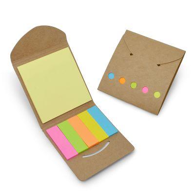 Redd Promocional - Mini bloco de anotações ecológico com sticky-notes, contém: sticky-notes com aproximadamente 25 folhas, marcadores de páginas coloridos