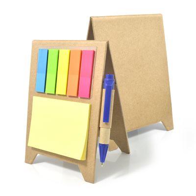 Redd Promocional - Bloco de anotações gravação personalizada em silkscreen, contém caneta esferográfica em papelão reciclado, bloco de auto colantes e bloco de sticky no...