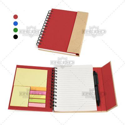 Redd Promocional - Caderno espiral com capa e caneta em Papelão Reciclado rígido, 70 folhas pautadas, blocos auto colantes, com 25 folhas cada. Carga esferográfica preta