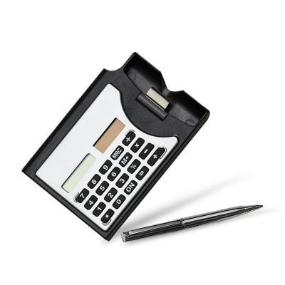 - Calculadora com 8 dígitos e painel solar personalizada, possui caneta esferográfica azul, compartimento para porta cartão. teclas emborrachadas com di...