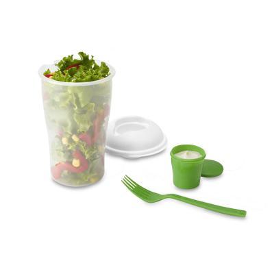 - Copo para salada com gravação personalizada. Produzido em PP, possui garfo e molheira. Capacidade: 800 ml. Disponível nas cores: vermelho, branco, azu...