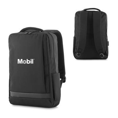 - Mochila para notebook personalizada produzido em poliéster. Possui bolso central com compartimento para notebook, 3 bolsos internos para tablet, celul...