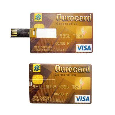 Pen drive cartão 4GB para brindes corporativos.