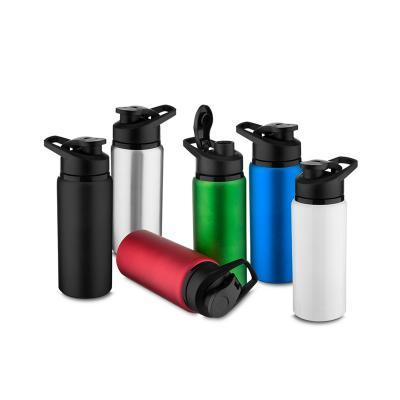 - Squeeze de alumínio com tampa plástica de bico com capacidade para 600 ml. Embalagem, caixinha branca. Gravação a laser.