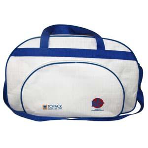 Bolsa com alça de mão, tira colo e impressão personalizada.