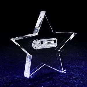 crystallium - Cristal Personalizado no formato de uma estrela. A personalização é feita a laser, dentro da estrela.