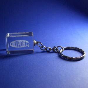 Cristal Personalizado com gravação a laser interna tridimensional. Modelo: Chaveiro. - Crystallium