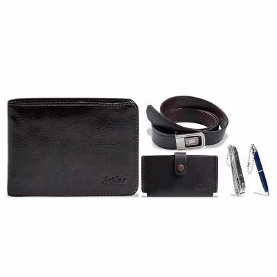 Artlux Brindes de  Couro - Estojo masculino com carteira de couro, cinto sintético,chaveiro e uma mini caneta.