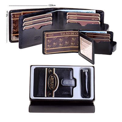 artlux-brindes-de-couro - Estojo masculino com uma carteira e cortador de unha com capa.