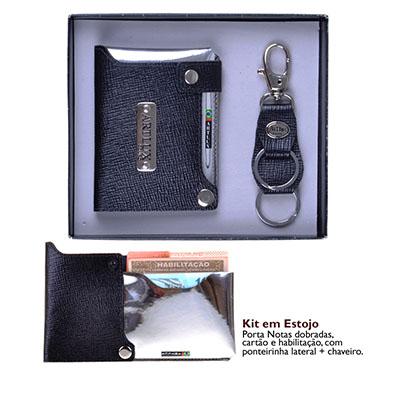 Artlux Brindes de  Couro - Kit - Porta cartão de couro unissex e chaveiro de couro.
