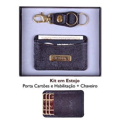 Kit - Porta cartão de couro unissex e chaveiro de couro. - Artlux Brindes de  Couro