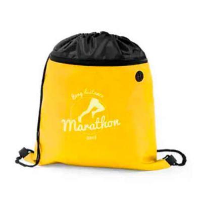imagine-pack-brindes - Mochila em nylon personalizada, com bolso frontal e saída para fone de ouvido. Medida: 35 X 40 cm. Quantidade mínima: 200 peças. Cores disponíveis: am...