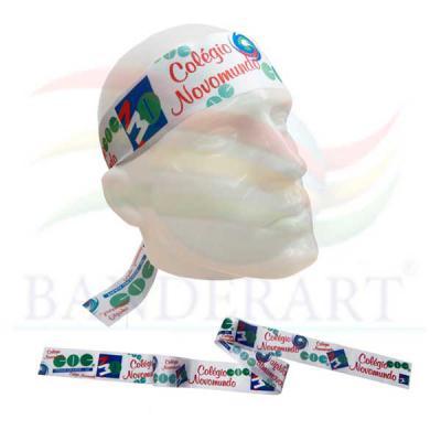 Fita para cabeça promocional confeccionada em tecido Duralon® 3x100cm Fabricado no Brasil.