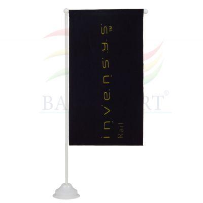 Estandarte de mesa promocional personalizado confeccionado no tecido Duralon® 100% poliéster. - Banderart