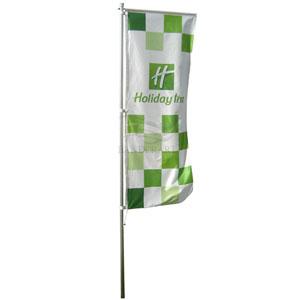 Bandeiras verticais confeccionadas em Tecido Duralon® 100% poliéster.