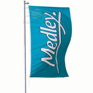 Bandeiras verticais confeccionadas no tecido Duralon® 100% poliéster.