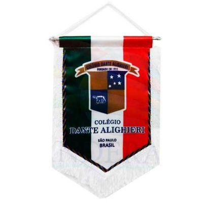 banderart - Flâmula personalizada em tecido Duralon®, modelo luxo com travessão, cordão e franja.