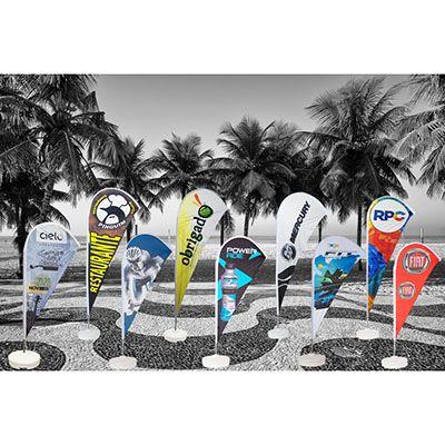 Banderart - Wind banners® em tecido Duralon® 100% poliéster com haste giratória desmontável.