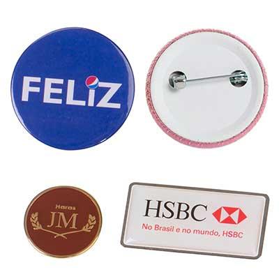 Still Promotion - Bottons americanos e Pins metálicos. Recortado e gravado de acordo com o logo do cliente