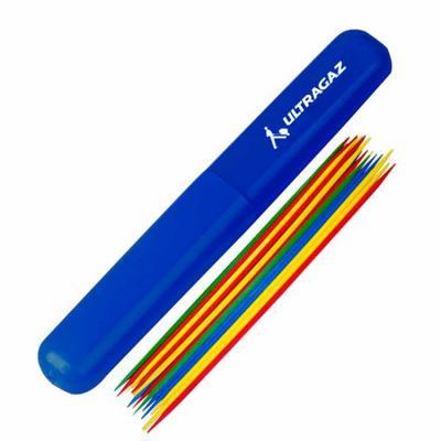 Tubo plástico personalizado contendo 21 varetas coloridas