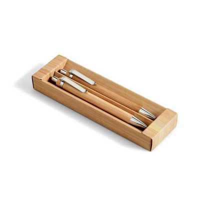 Conjunto de esferográfica e lapiseira. Bambu. Esferográfica: 1,5km de escrita. Lapiseira: grafite...