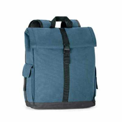 Mochila para notebook. Algodão canvas pré-lavado. Compartimento principal forrado, com 2 bolsos interiores e divisória almofadada para notebook até 15...