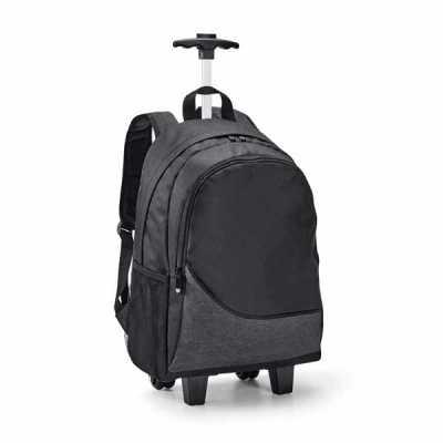 lamarca-brindes - Mochila trolley para notebook. 300D. Com 2 rodas duplas. Compartimento principal forrado e almofadado, com divisória almofadada para notebook até 15.6...