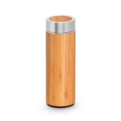 - Garrafa térmica. Bambu e aço inox. Com parede dupla e infusor para chá. Capacidade até 430 ml. Fornecida em caixa presente. Food grade. ø69 x 207 mm |...