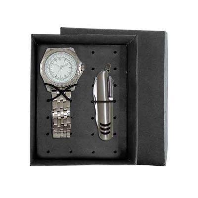 Lamarca Brindes - Kit contém: Relógio de pulso 5277G, mostrador branco, pulseira de metal, certificado de garantia e canivete com embalagem para kit.